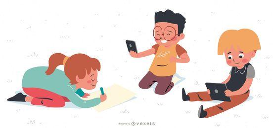Niños jugando paquete de dibujos animados