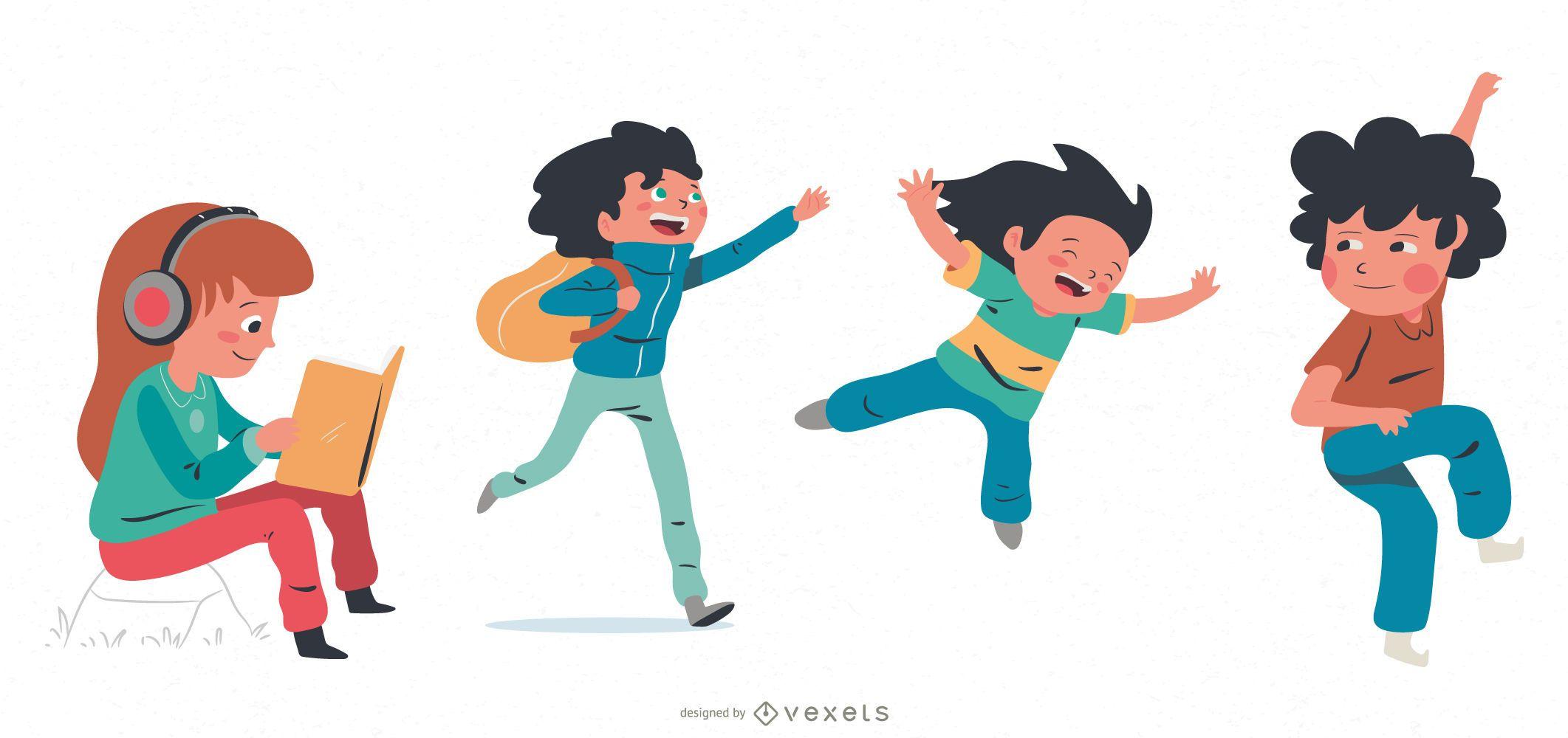 Niños jugando paquete de personajes