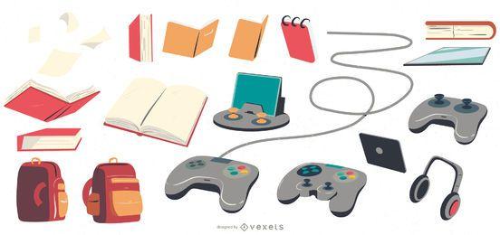 Paquete de elementos escolares y de pasatiempos para niños