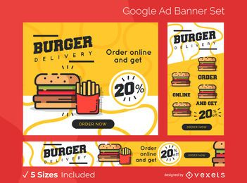 Conjunto de banner de anuncios de entrega de hamburguesas