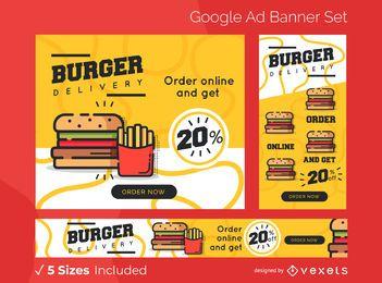 Conjunto de banners de anuncios de entrega de hamburguesas