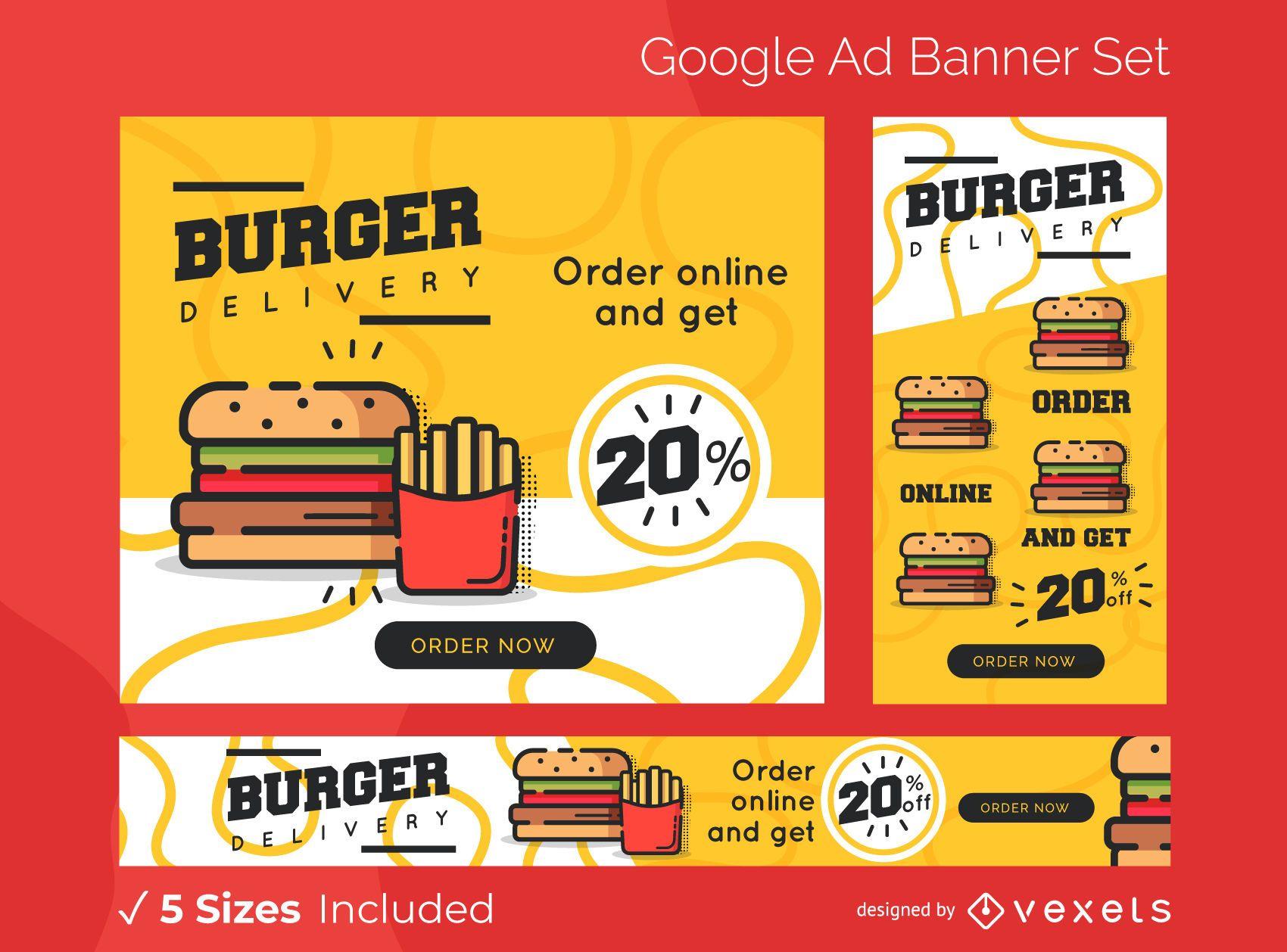 Burger delivery ads banner set