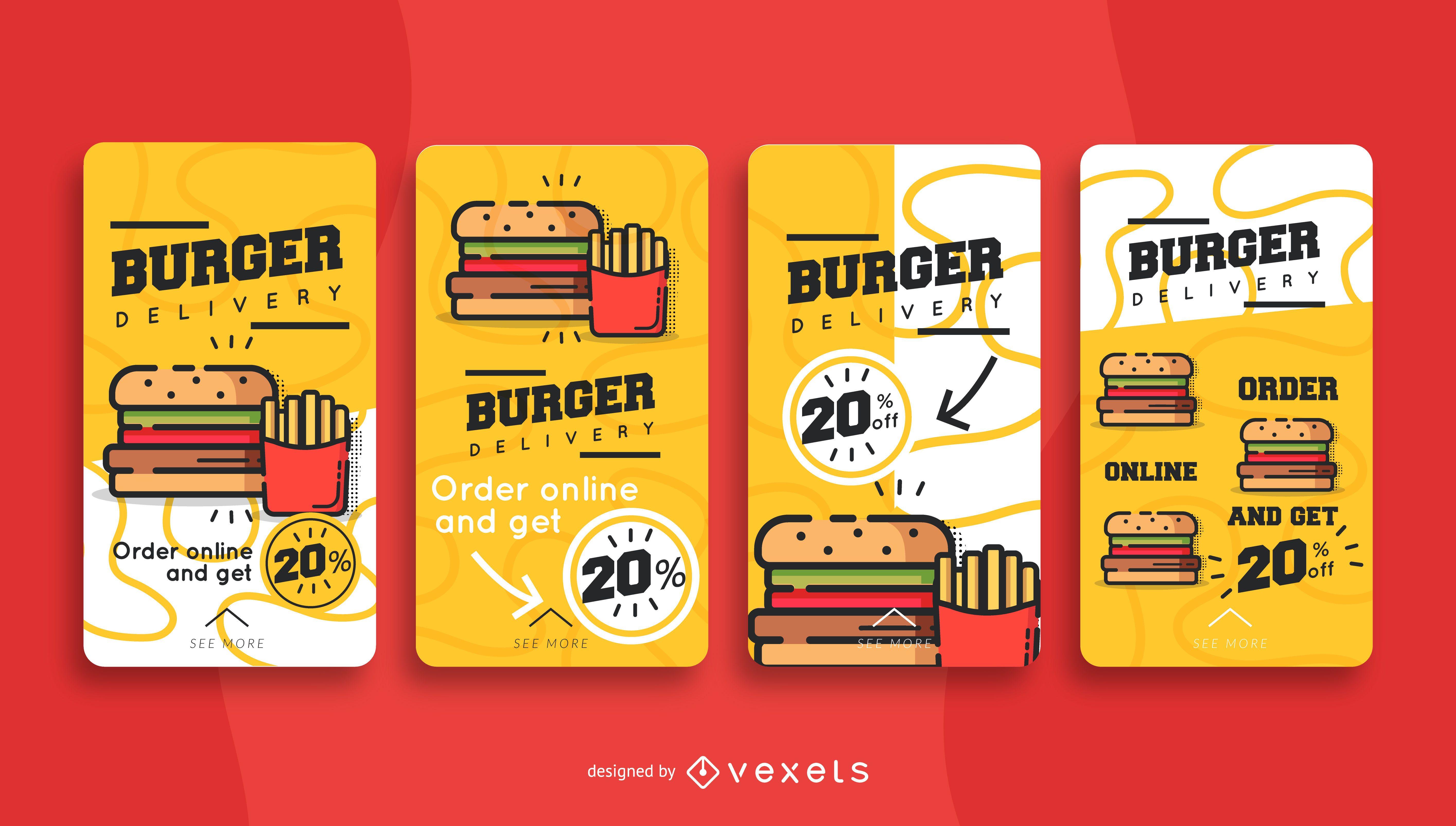 Conjunto de historias de redes sociales de entrega de hamburguesas