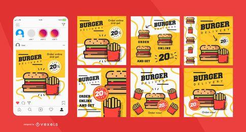Conjunto de postagem de mídia social de entrega de hambúrguer
