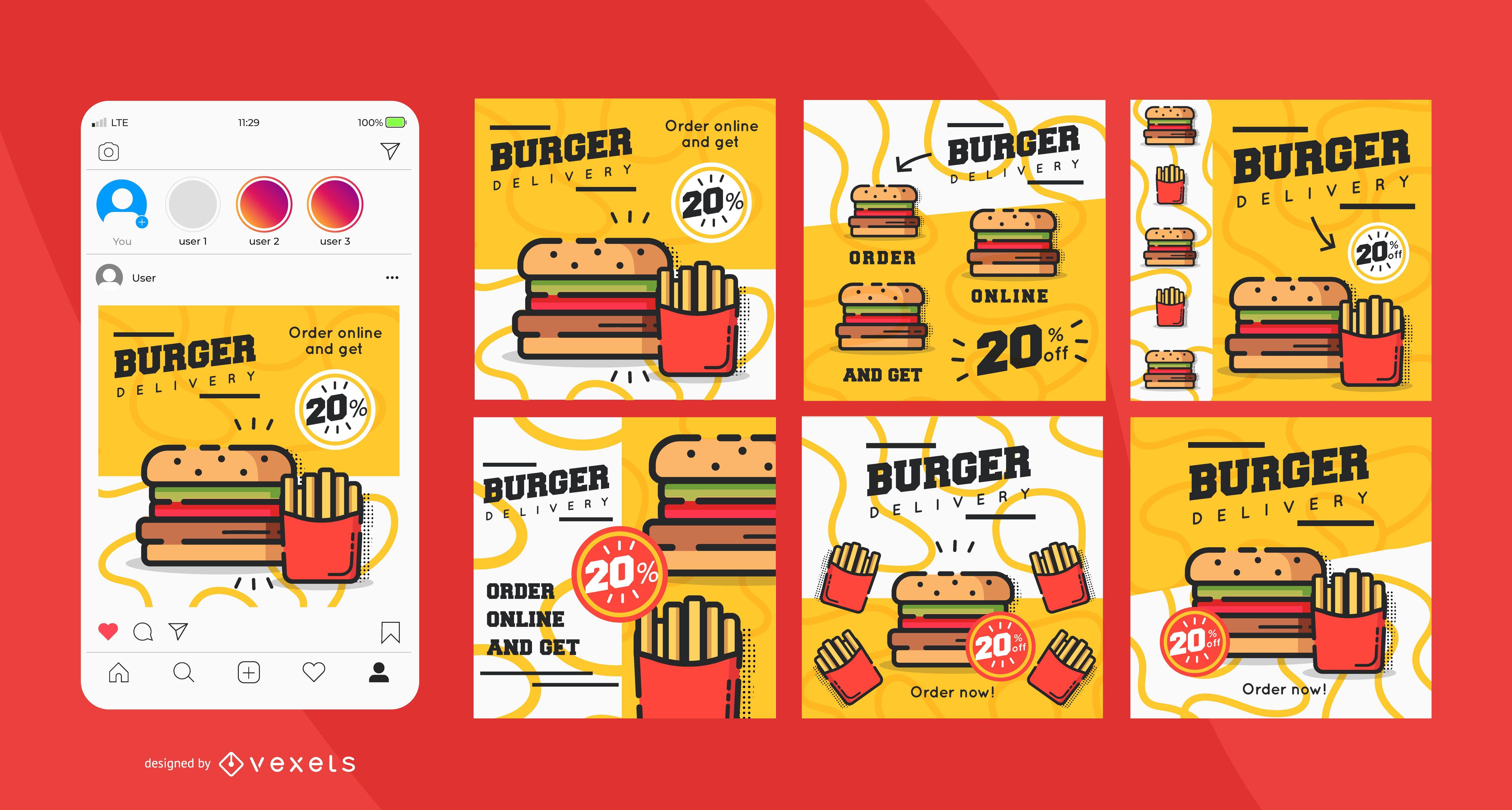 Conjunto de publicaciones de redes sociales de entrega de hamburguesas