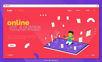 Plantilla de página de inicio de clases en línea
