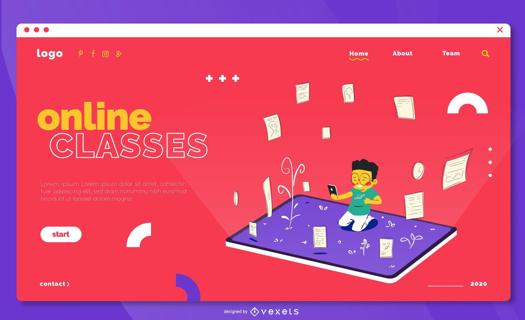 Zielseitenvorlage für Online-Klassen