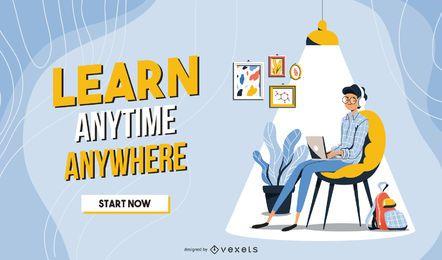 Modelo do slider da Web de aprendizagem on-line