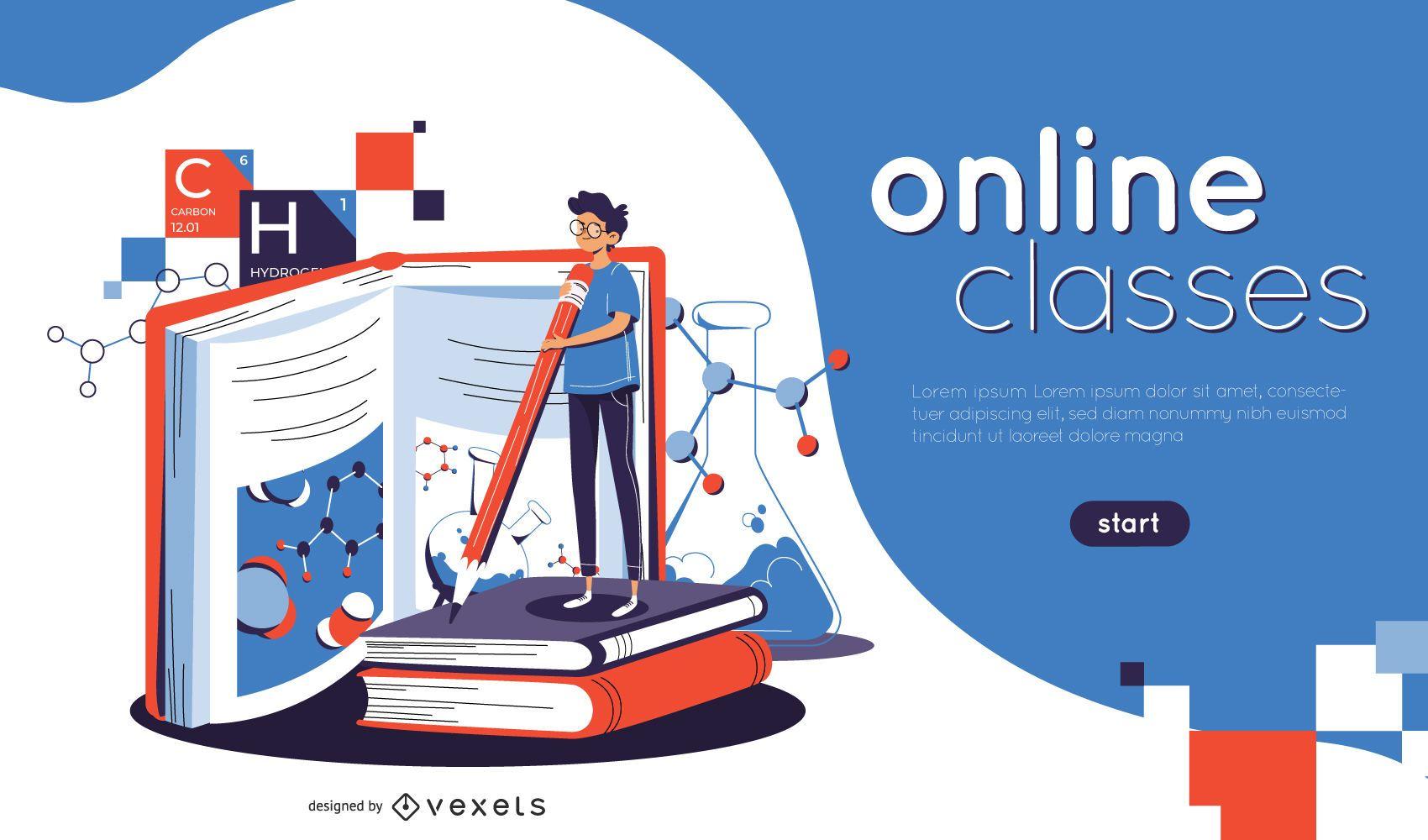 Web Slider de ilustração de aulas online