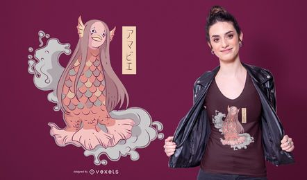 Diseño de camiseta japonesa de sirena amabie