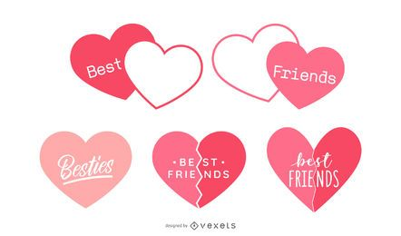 Best Friends Heart Design Set