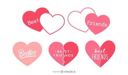 Conjunto de design de coração de melhores amigos