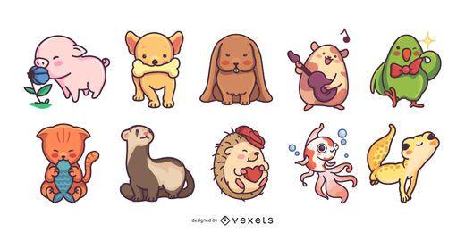 Lindo paquete de ilustración de mascotas de colores