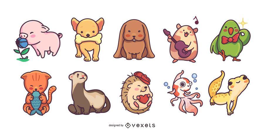 Pacote colorido bonito de ilustrações para animais de estimação