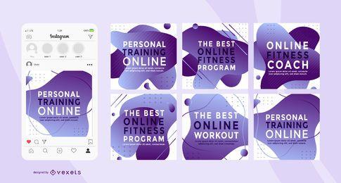 Pacote de banner quadrado social de personal trainer