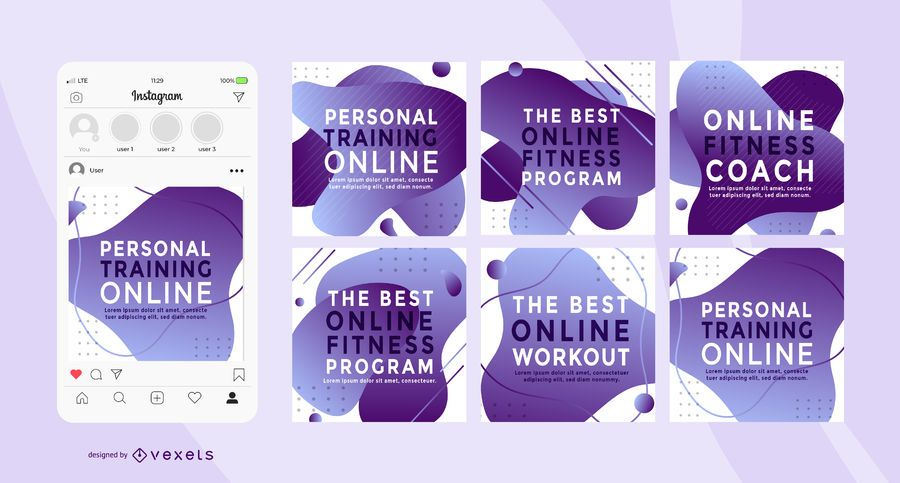 Personal Trainer Social Square Banner Pack