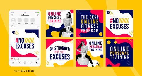 Pacote de banner quadrado social de treino on-line