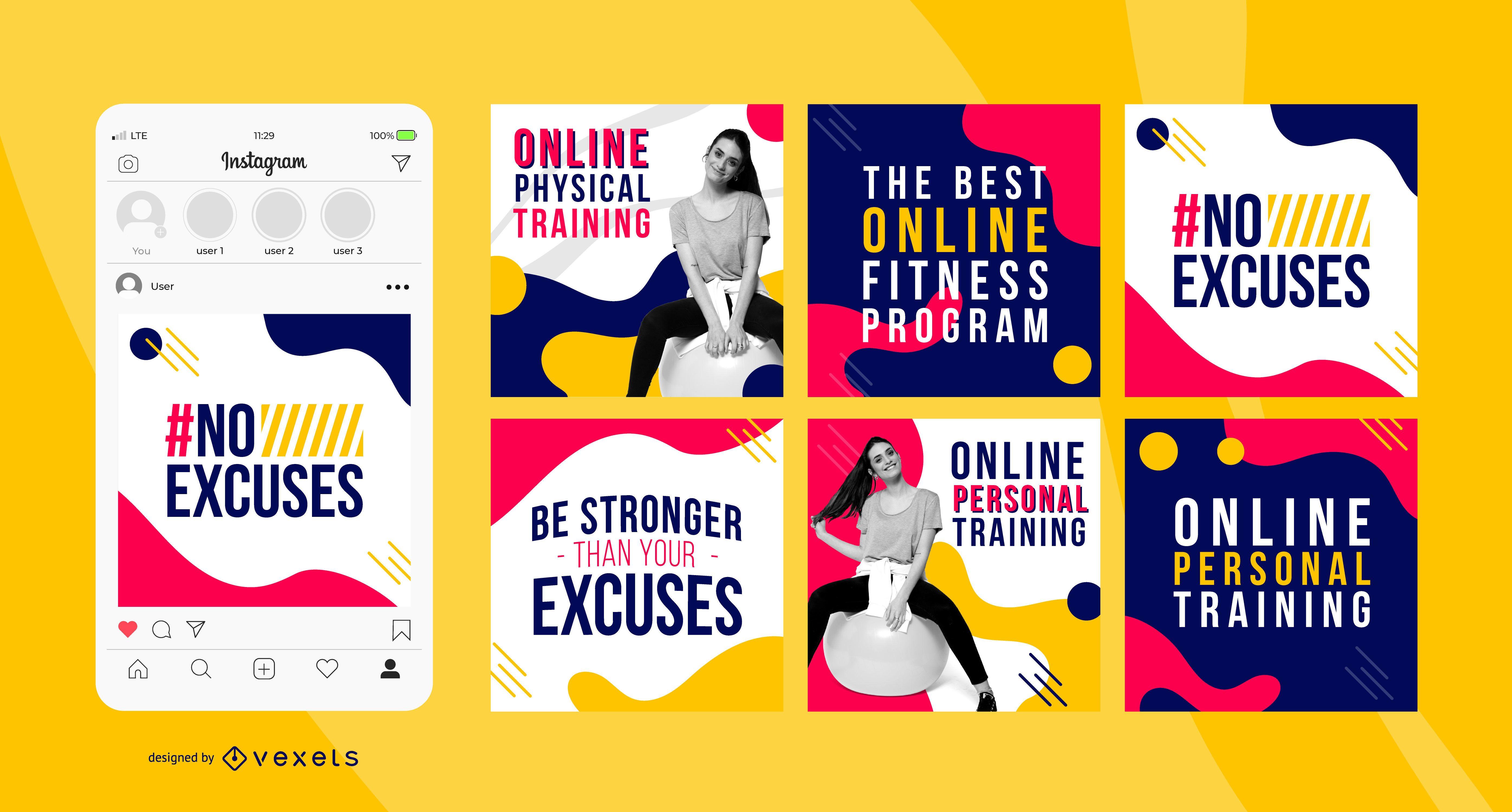 Paquete de banners cuadrados sociales de entrenamiento en línea