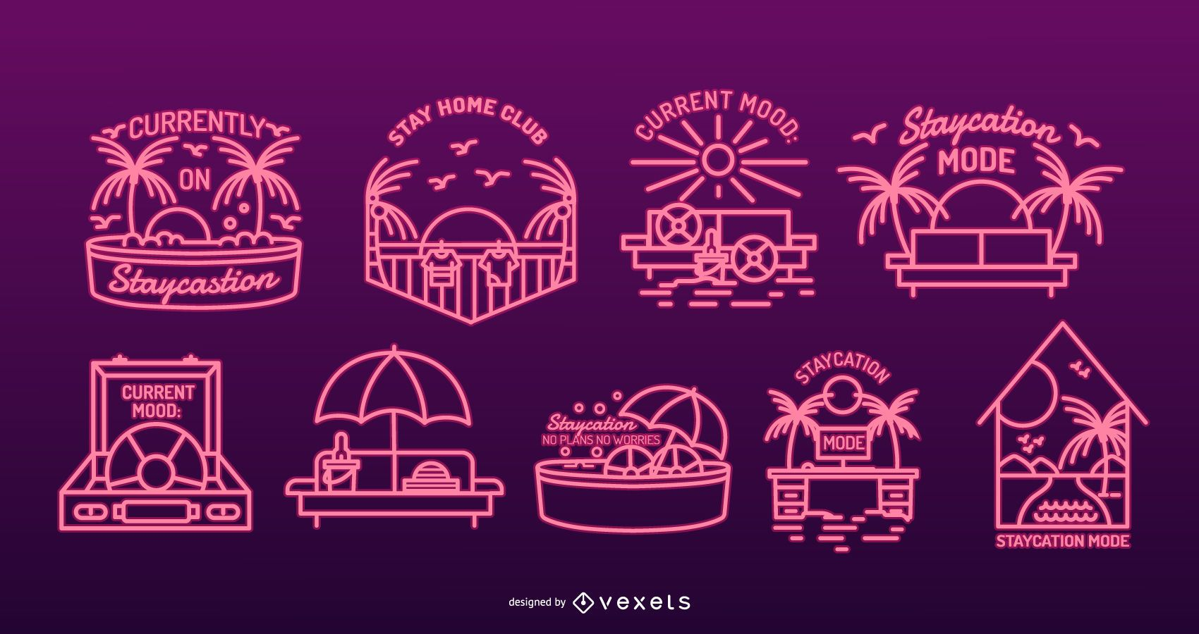 Staycation Neon Badge Pack