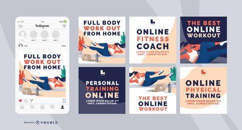 Paquete de banners sociales de entrenamiento en casa