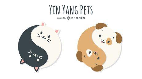 Ilustración de perro gato Yin Yang