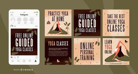 Paquete de banner cuadrado de yoga en casa