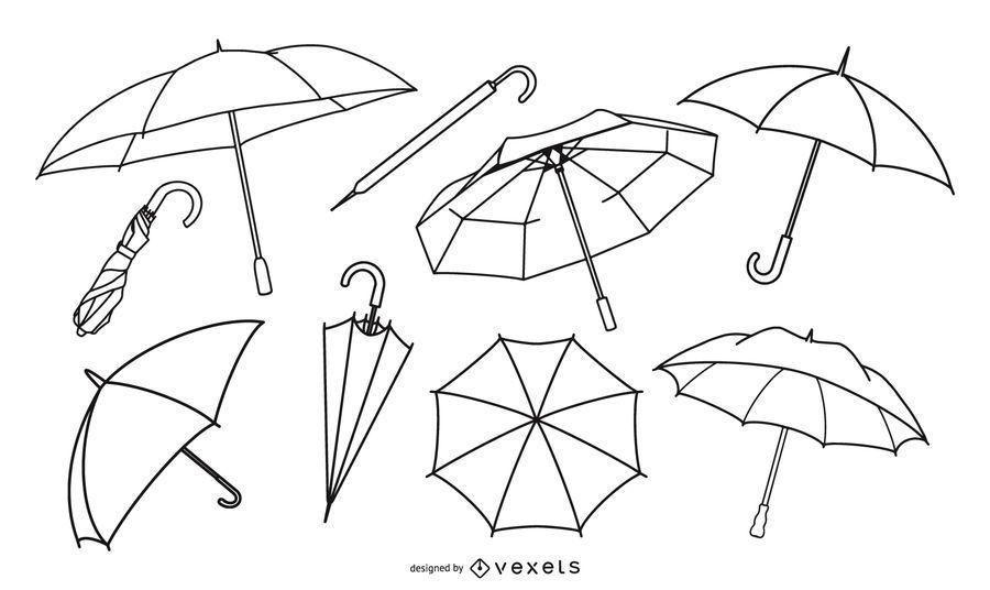 Juego de paraguas Stroke Line
