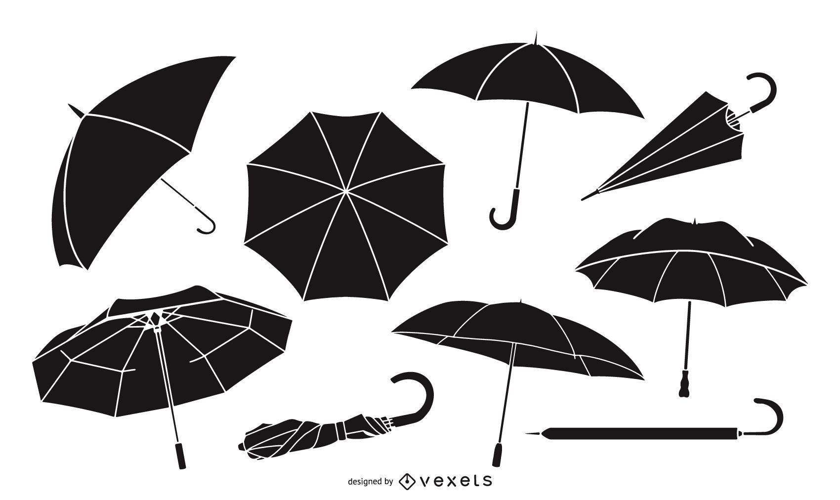 Paquete de diseño de silueta de paraguas