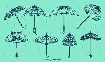 Regenschirm Linie Illustration Pack