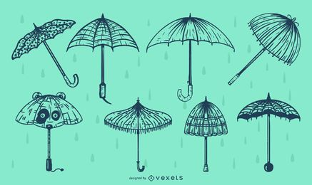 Umbrella Line Illustration Pack
