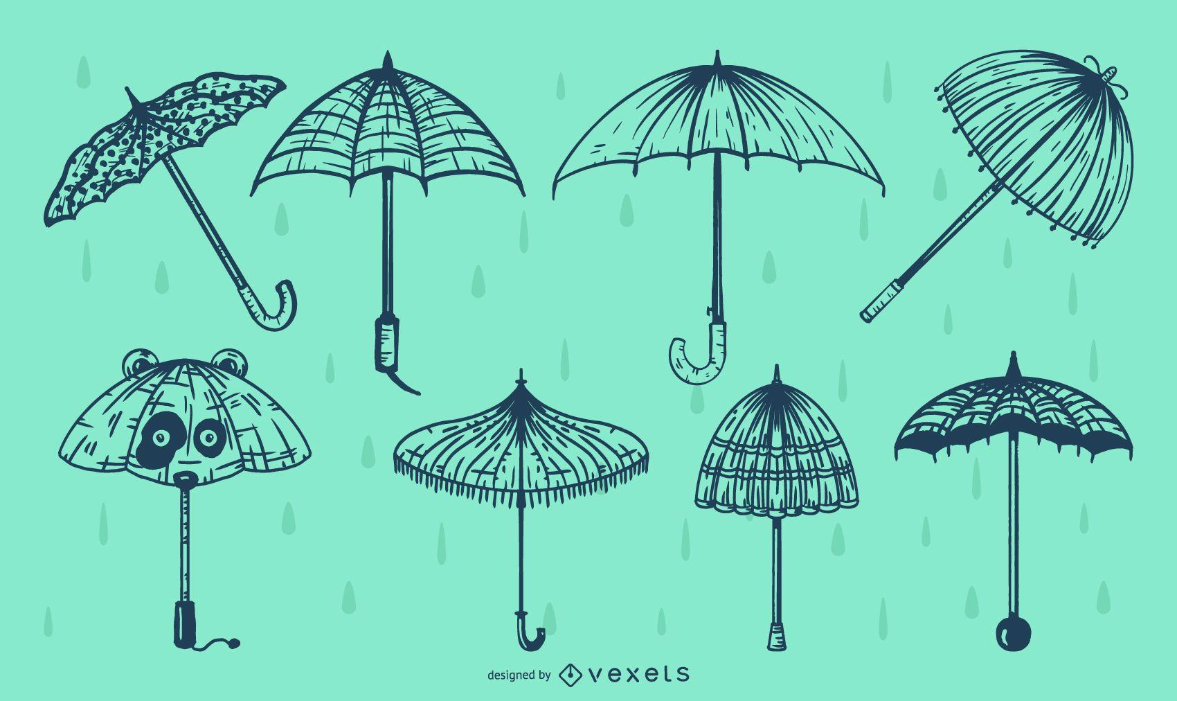 Paquete de ilustración de línea de paraguas