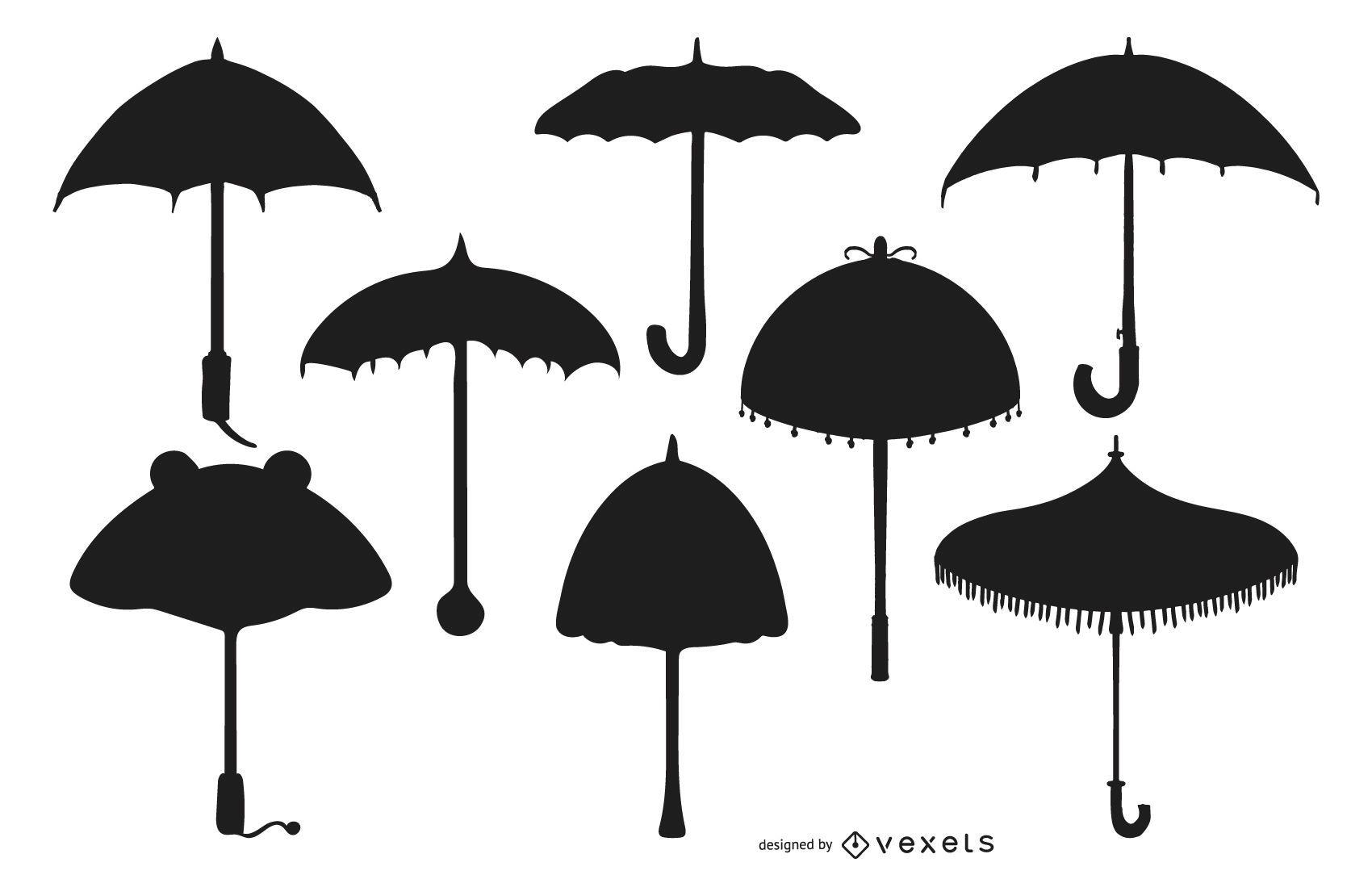 Umbrella Silhouette Design Set