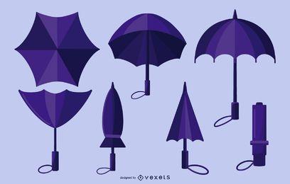 Paquete de diseño de paraguas morado