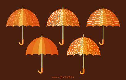 Paquete de paraguas ornamentales naranja