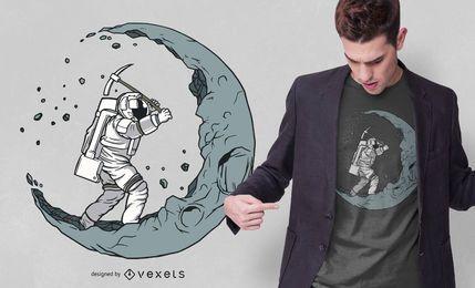 Astronaut Moon Digger T-Shirt Design