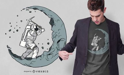 Design do t-shirt do escavador da lua do astronauta