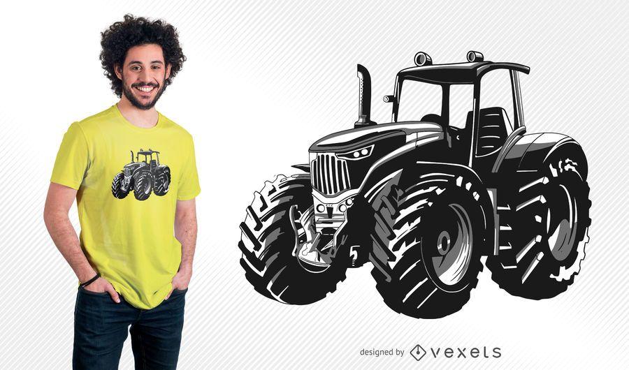 Diseño de camiseta de ilustración de tractor