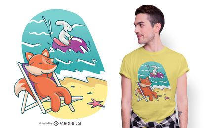 Diseño de camiseta Fox and Rabbit Beach Friends