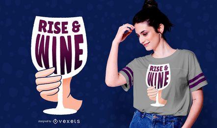 Design de t-shirt de ascensão e vinho