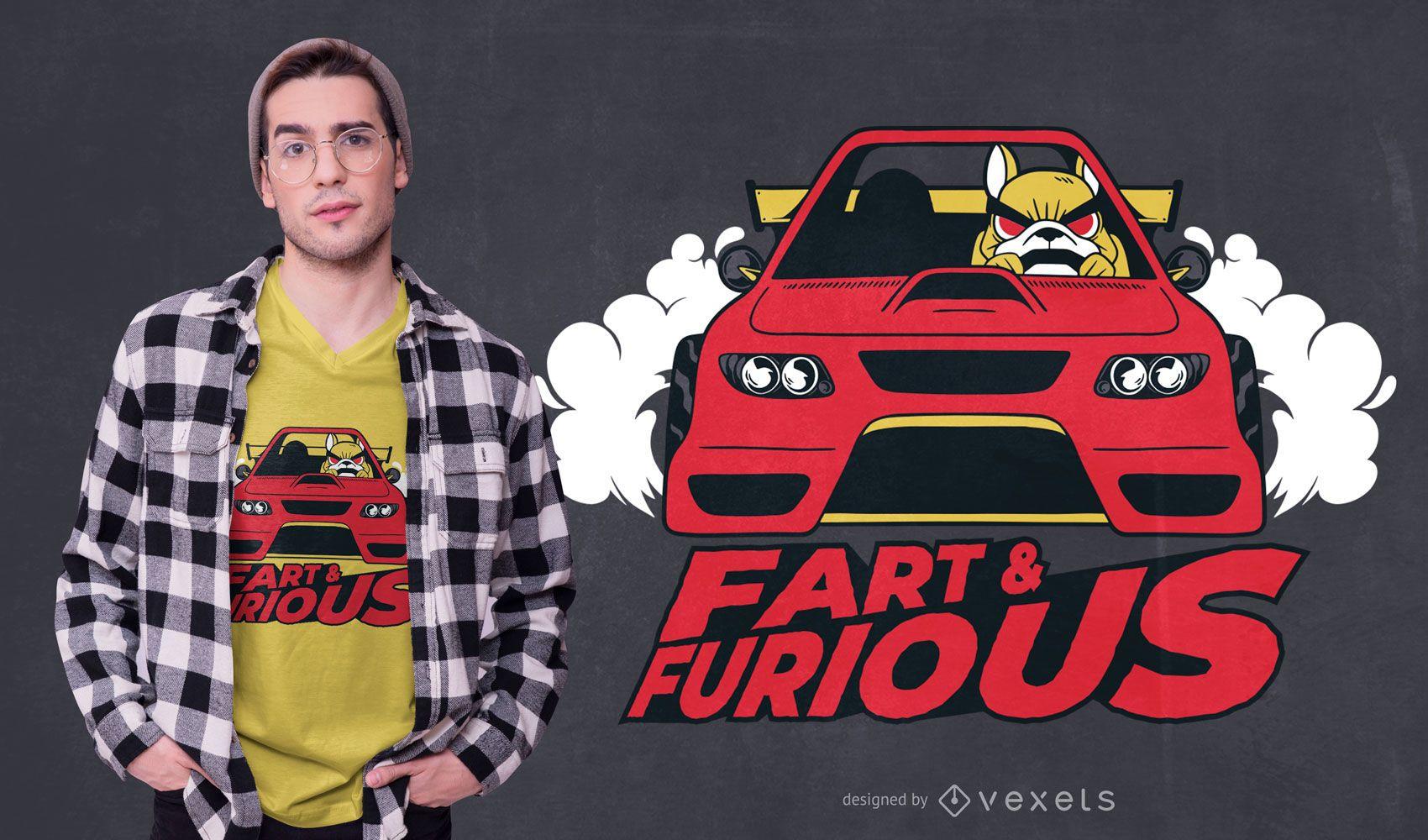 Diseño de camiseta de coche de perro Fart & Furious