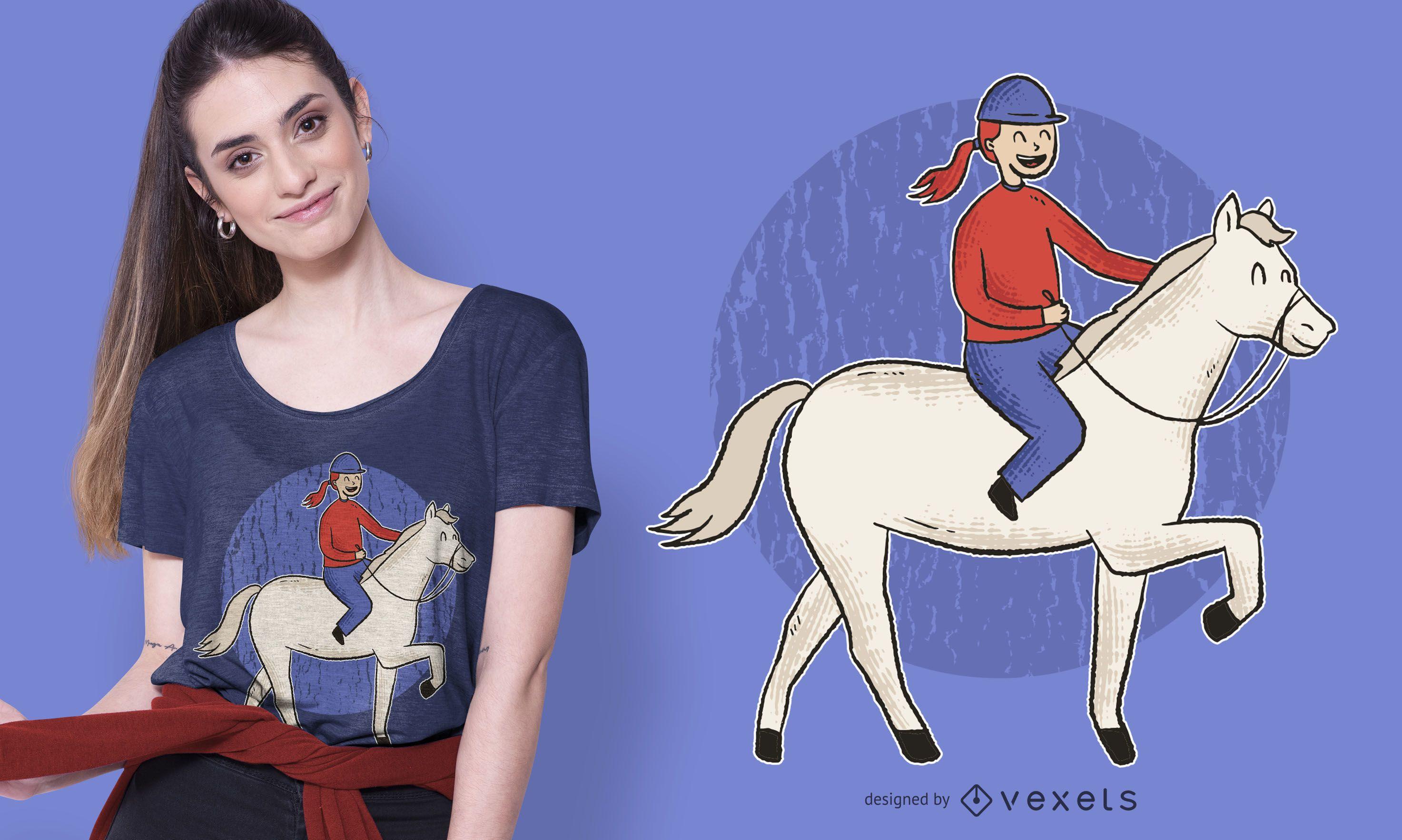 Dise?o de camiseta de ni?a de equitaci?n.