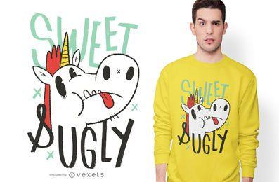 Diseño de camiseta de dibujos animados de unicornio feo