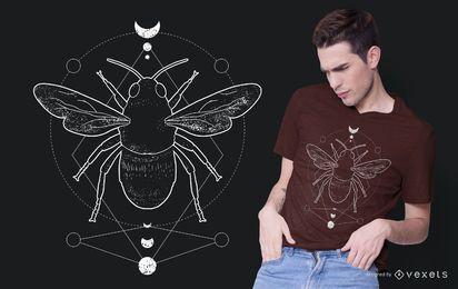 Diseño de camiseta de abeja oculta geométrica