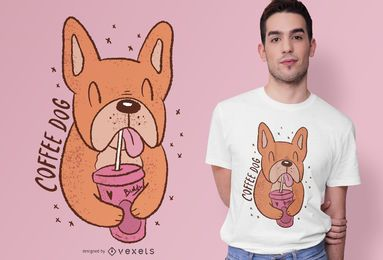 Coffee Dog Cute T-shirt Design