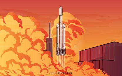 Ilustración del lanzamiento del cohete SpaceX Falcon