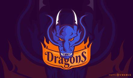 Modelo de logotipo de jogos de dragões