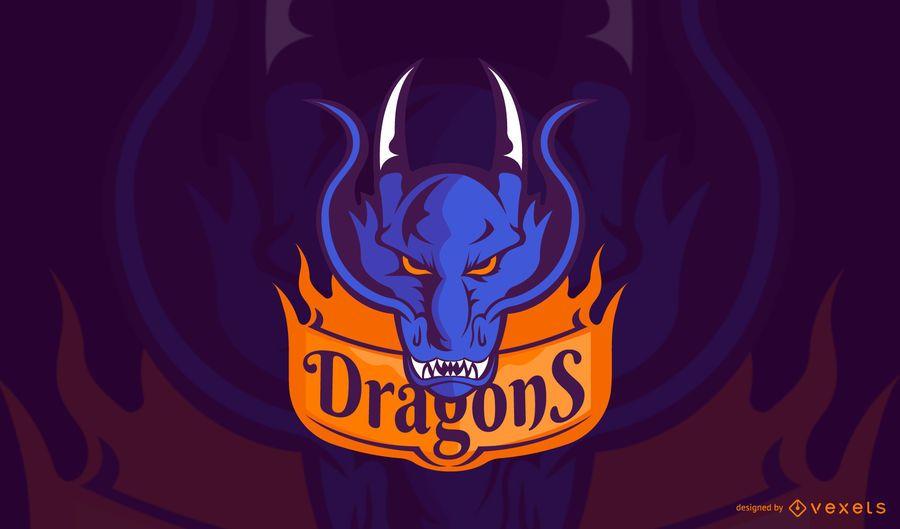 Plantilla de logotipo de juego de dragones
