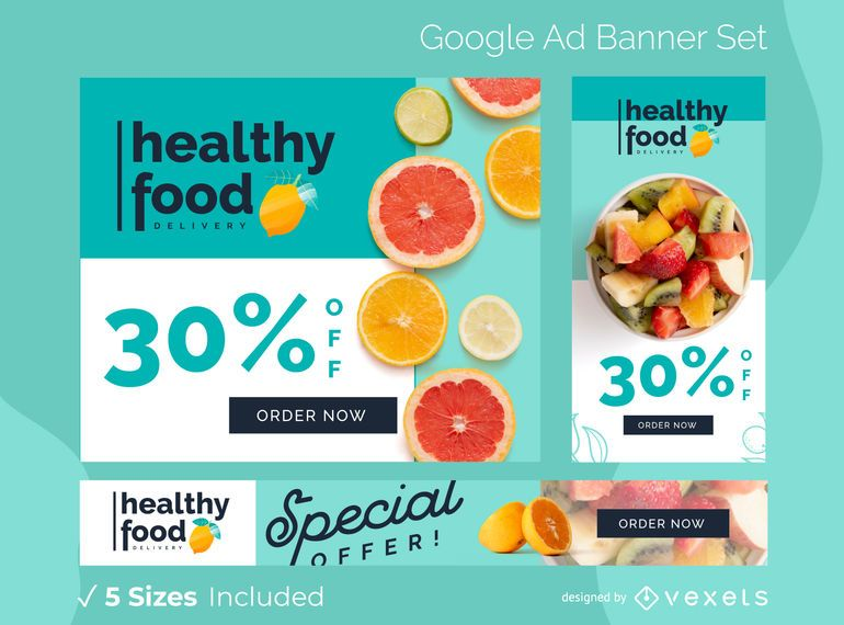 Conjunto de banners de alimentos saludables de Google Ads