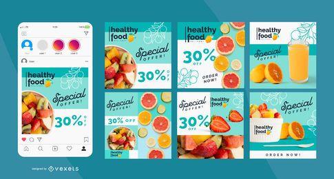 Paquete de publicaciones de alimentos saludables en Instagram