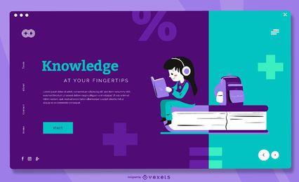 Modelo de página de destino de crianças do conhecimento